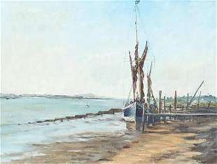 Shirley Bird - Seascape with moored boat...