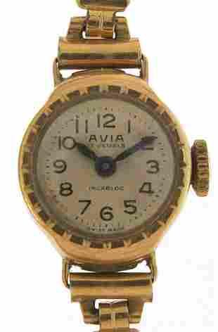 Avia, ladies 9ct gold manual wind wristw...
