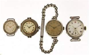 Four silver ladies and gentlemen's wrist...
