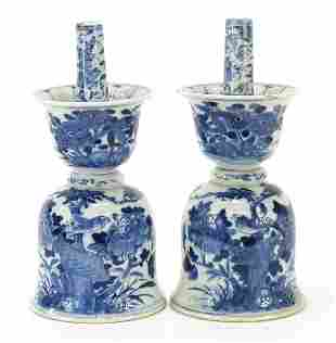 Chinese blue and white porcelain candle ...