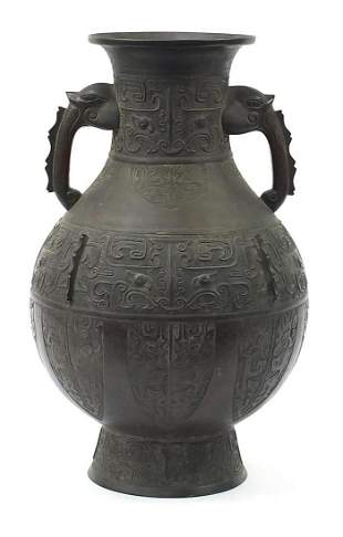 Large Chinese patinated bronze archaic v...