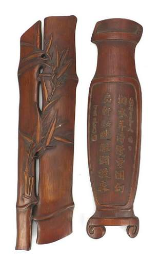 Two Chinese carved bamboo scholar's wris...