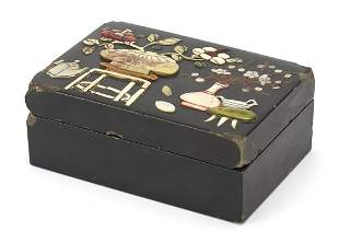 Chinese black lacquered box and cover wi...