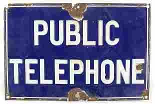 Vintage public telephone enamel advertis...