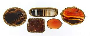Five antique Scottish agate brooches wit...