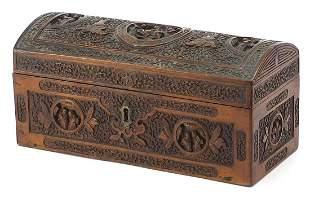 Chinese dome top sandalwood casket profu...