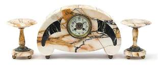 French Art Deco marble mantle clock with...