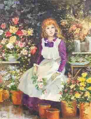 Irene Shaw - Seated girl amongst flowers...