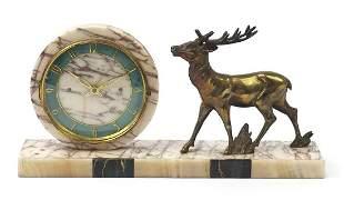 Art Deco marble stag design mantle clock...