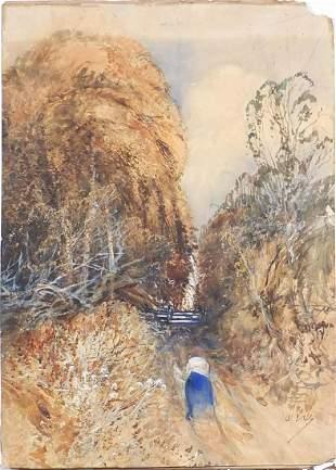 Figure on a path beside trees, heightene...