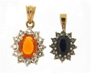 Two 9ct gold pendants, one set with sapp...
