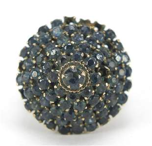Antique gold coloured metal and sapphire...