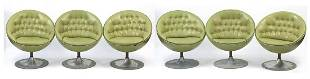 Set of six green faux leather button bac...