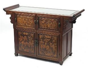 Good Chinese hardwood sideboard, carved ...