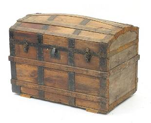 Antique wooden and metal bound dome top ...