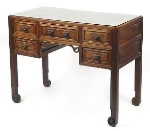 Good Chinese burr wood five drawer writi...