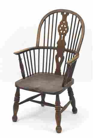 Oak wheel back carver chair, 104cm high