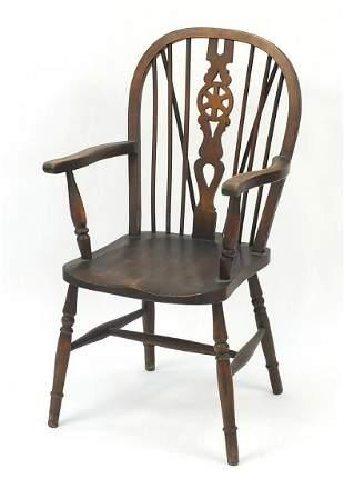 Oak wheel back carver chair, 102cm high