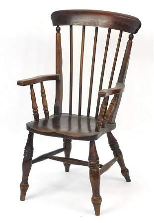 Antique ash and elm stick back armchair,...