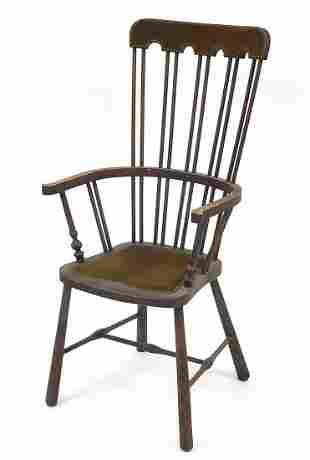 Antique mahogany stick back armchair wit...