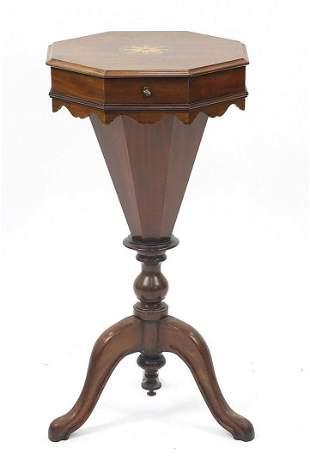 Inlaid mahogany trumpet shaped sewing ta...