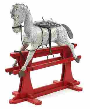 Vintage painted wood rocking horse, 90cm...