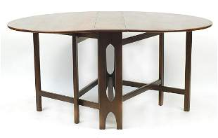 Elm drop leaf dining table, 74cm H x 154...