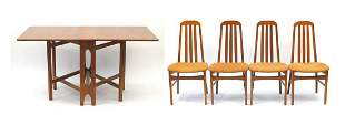 Teak drop leaf dining table and four cha...