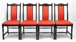 Jaycee Furniture, set of four oak dining...