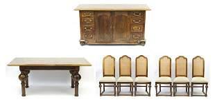 Parquetry Inlaid hardwood dining suite c...