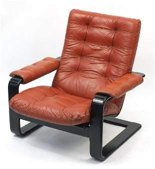 1970's Alvar Aalto design leather armcha...