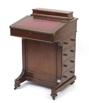 Victorian mahogany Davenport with tooled...