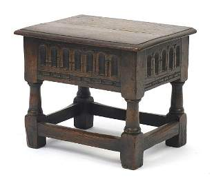 Carved oak Jacobean design workbox with ...