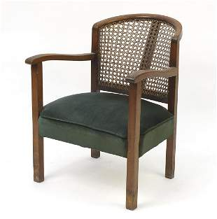 Mahogany framed bedroom chair with cane ...