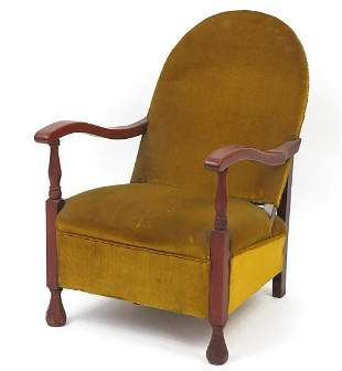 Mahogany framed bedroom chair with green...