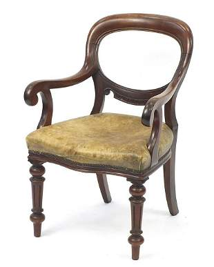 Victorian mahogany Gainsborough chair wi...