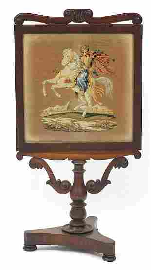 Victorian rosewood fire screen, with tap...