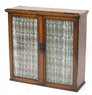 Antique inlaid walnut bookcase with a pa...