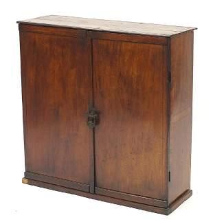 Walnut two door cupboard with inlaid pla...