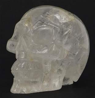 Carved rock crystal human skull, 9.5cm i...