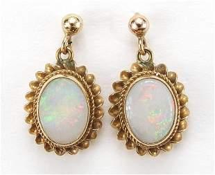 Pair of 9ct gold opal drop earrings, 2.1...