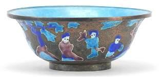 Chinese Canton enamel bowl enamelled wit...
