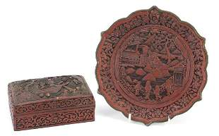 Chinese cinnabar lacquer plate and box w...