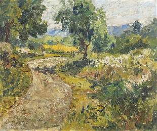 Country landscape with trees and path, o...