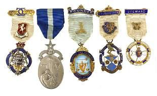 Five masonic silver jewels including fou...