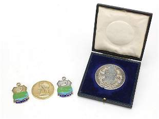Two silver and enamel fishing jewels, Fr...
