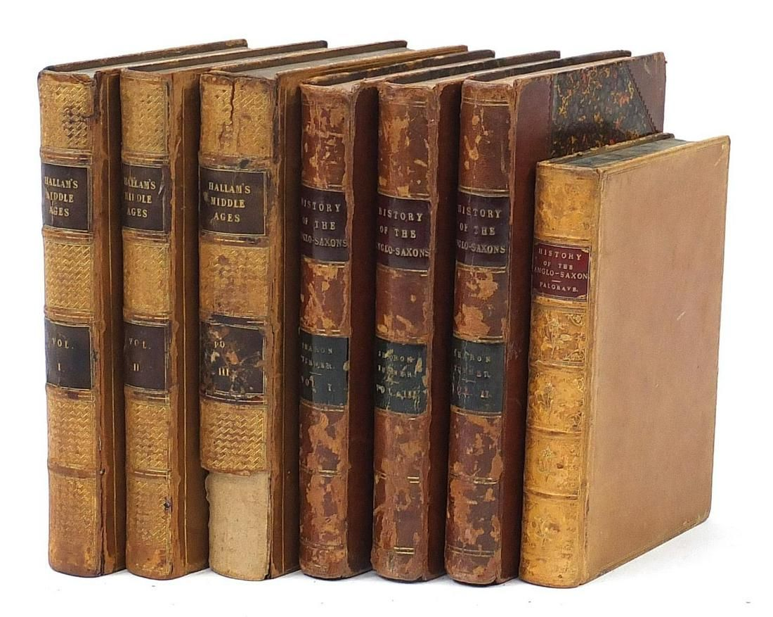 Seven antique leather bound history book...
