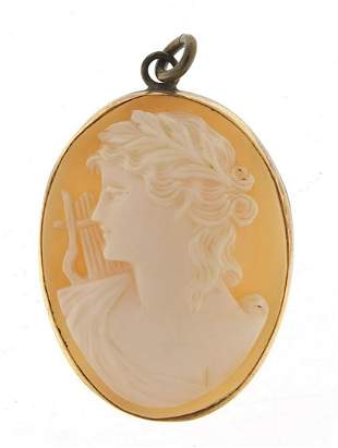 Cameo maiden head pendant with gold colo...