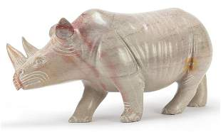 Large marble carving of a rhinoceros, 52...