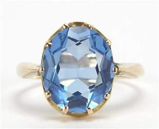 9ct gold blue stone ring, size I, 3.2g